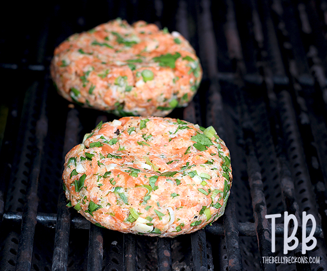 Cilantro and Lime Salmon Burgers Assembled
